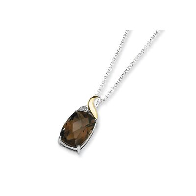 Sterling Silver and 14K Smokey Quartz and Diamond Necklace - 18 Inch