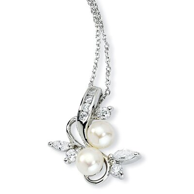 Jewelryweb Sterling Silver CZ White Cultured Pearl Leaves Necklace - 18 Inch