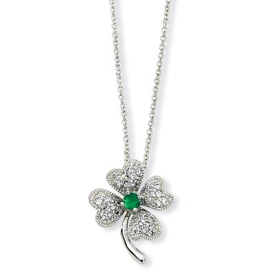 Jewelryweb Sterling Silver Simulated Emerald CZ 4-leaf Clover Necklace - 18 Inch