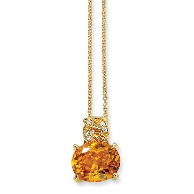 Jewelryweb Gold-plated Sterling Silver 100-facet Yellow CZ Necklace - 18 Inch