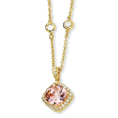 Gold-plated Sterling Silver Rose-cut Pink CZ Square Necklace - 18 Inch