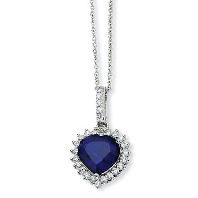 Jewelryweb Sterling Silver Heart Synthetic Sapphire CZ Necklace - 18 Inch