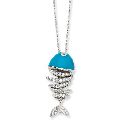 Sterling Silver Turquoise Enameled CZ Fish Necklace - 18 Inch