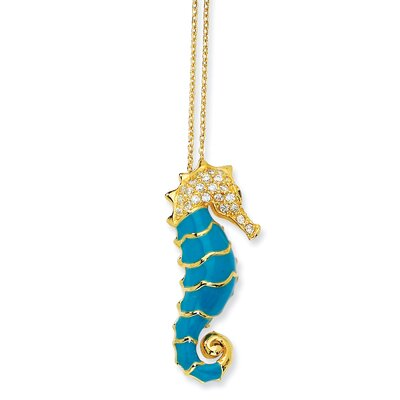 Gold-plated Sterling Silver Enameled CZ Seahorse Necklace - 18 Inch