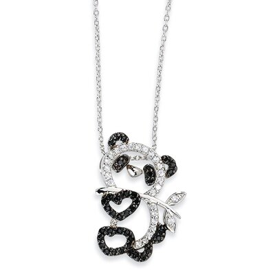 Jewelryweb Sterling Silver CZ Heart Teddy Bear Necklace - 18 Inch