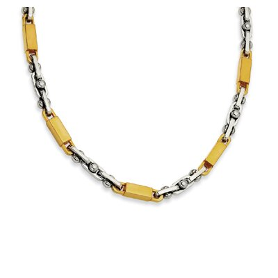 Stainless Steel and Gold Color IP-plated Accent Link Necklace - 22 Inch