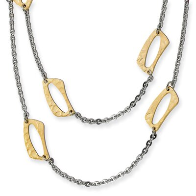 Stainless Steel Gold IP Plated Square Link Necklace - 22 Inch