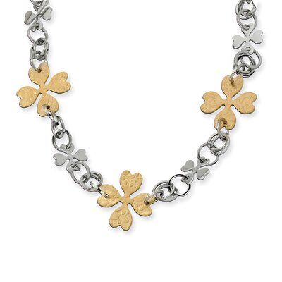 Stainless Steel Gold IP Plated Flower Link Necklace - 23 Inch