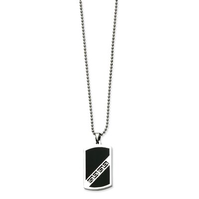 Stainless Steel Black Enamel Dog Tag Pendant Necklace - 20 Inch