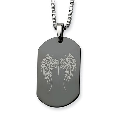 Stainless Steel Wings Black Plated Dog Tag Necklace - 26 Inch