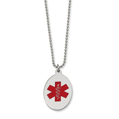 Stainless Steel Red Enamel Oval Medical PendantNecklace - 22 Inch