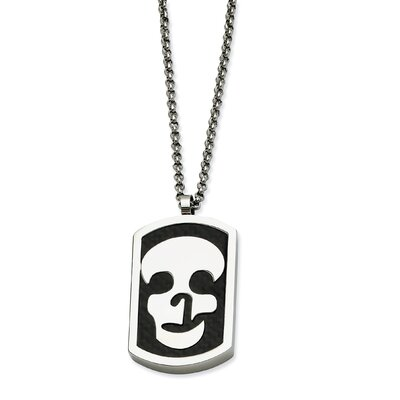 Jewelryweb Stainless Steel Skull and Fancy Back Reversable Dog Tag Necklace - 22 Inch