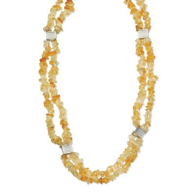 Jewelryweb Stainless Steel Citrine Chip 24 With 2inch ext. Necklace - 24 Inch
