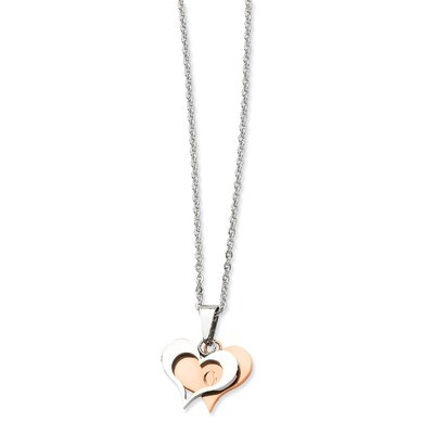 Jewelryweb Stainless Steel Polished and Rose Gold Heart PendantNecklace - 22 Inch
