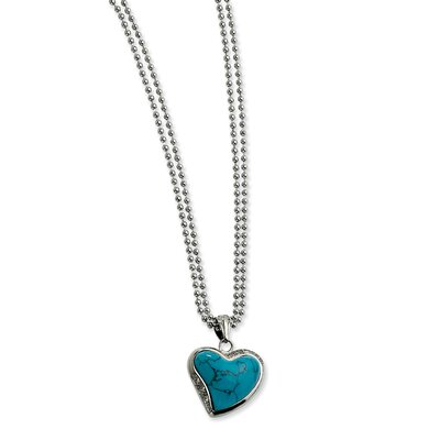 Stainless Steel Blue Turquoise Heart with CZs Necklace - 28 Inch