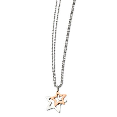 Jewelryweb Stainless Steel IPG 24k Plating Plated Stars PendantNecklace - 22 Inch