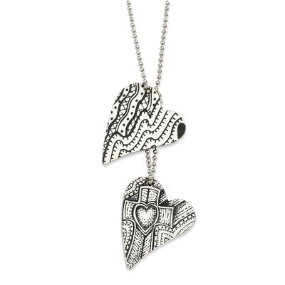 Jewelryweb Stainless Steel Love and Faith Heart Necklace - 24 Inch