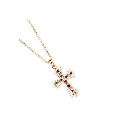 Jewelryweb Sterling Silver and Gold-plated Dia. and Ruby 18inch Cross Necklace