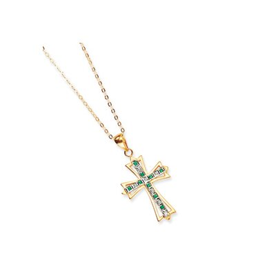 Jewelryweb Sterling Silver and Gold-plated Dia. and Emerald 18inch Cross Necklace