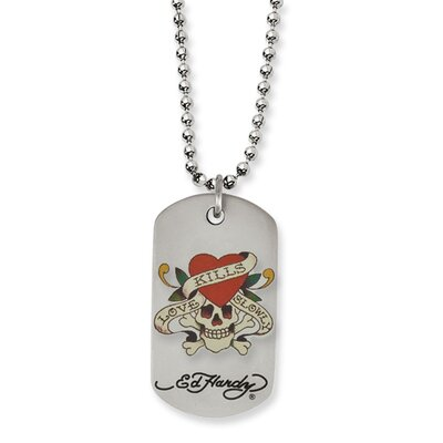 Jewelryweb Stainless Steel Ed Hardy Painted Skull Heart Dog Tag 24inch Necklace