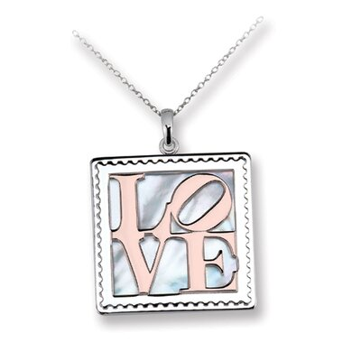 Rose Gold-plated Sterling Silver Postage Stamp Love Necklace - 16 Inch