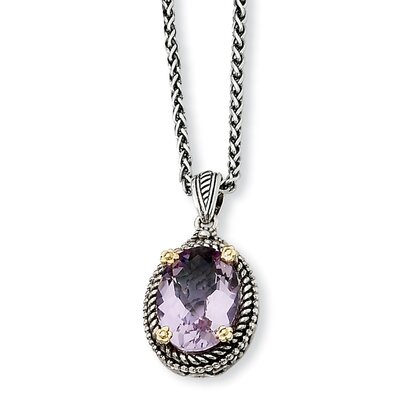Jewelryweb Sterling Silver With 14k 4.25Pink Amethyst 18inch Necklace