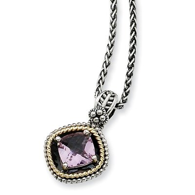 Jewelryweb Sterling Silver With 14k 2.10Pink Amethyst 18inch Necklace
