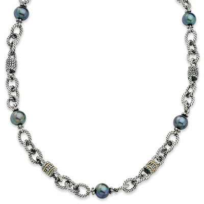 Sterling Silver With 14k 8-8.5mm Freshwater Cultured Black Pearl 20inch Necklace