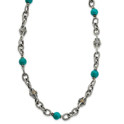 Jewelryweb Sterling Silver With 14k Turquoise 20inch Necklace