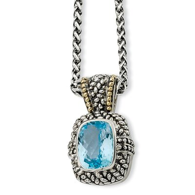 Jewelryweb Sterling Silver With 14k 12.17Sky Blue Topaz 18inch Necklace