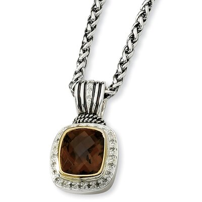 Jewelryweb Sterling Silver 8.06Smokey Quartz and 1/5ct. Diamond 18inch Necklace