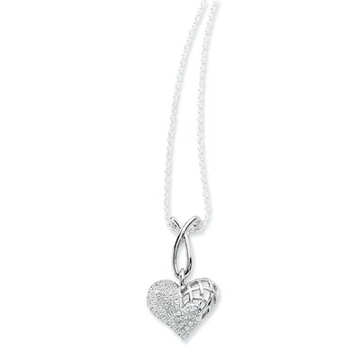 Jewelryweb Sterling Silver and CZ Polished Heart Pendant