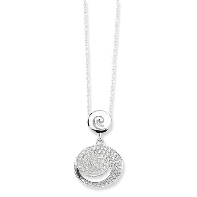Jewelryweb Sterling Silver and CZ Polished Fancy Necklace - 18 Inch
