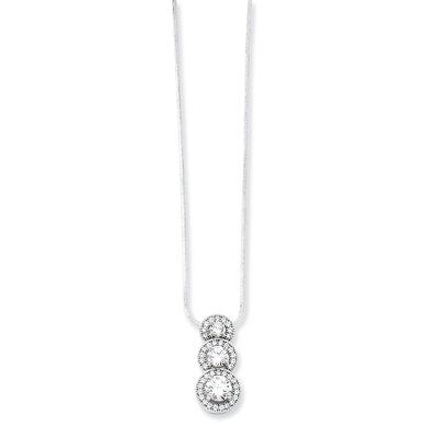 Jewelryweb Sterling Silver and CZ Polished Necklace - 18 Inch