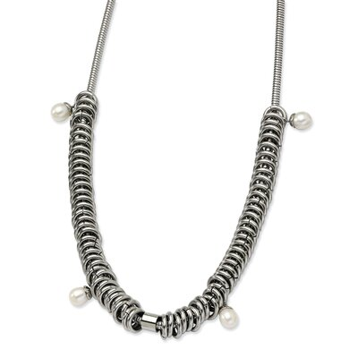 Stainless Steel Multi Rings with Fresh Water Cultured Pearls necklace - Size 18.25