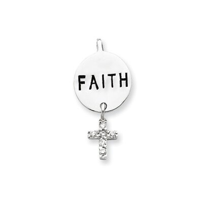 Jewelryweb Sterling Silver CZ Cross Faith Slide