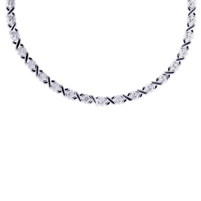 Sterling Silver Diamond-Cut Xo Necklace - 17 Inch