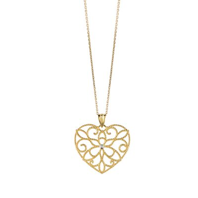 Jewelryweb 14K Yellow 18 InchDiamondheart Pendant