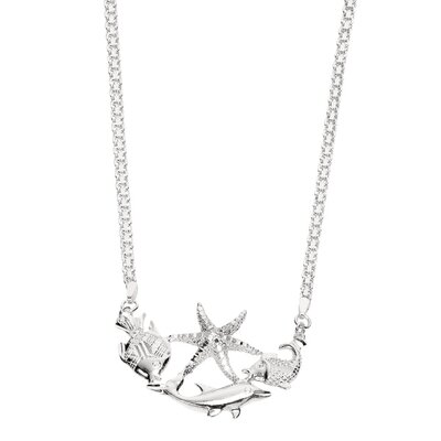 Sterling Silver Rhodium Plated Necklace - 18 InchSea-Life Collection