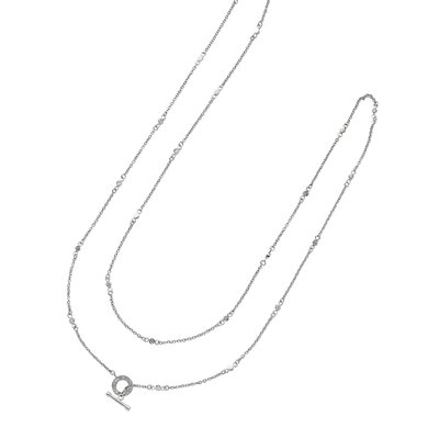 Sterling Silver Rhodium Plated Necklace With Connecting - 38 Inch