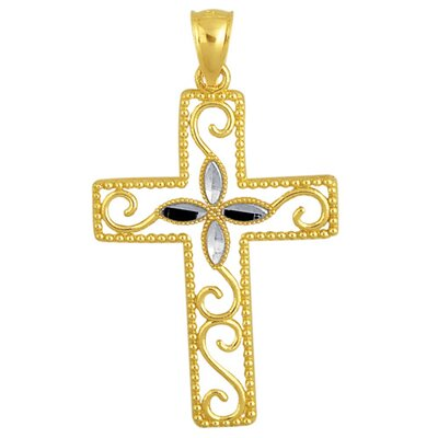 Jewelryweb 14k Gold Two-tone Cross Pendant