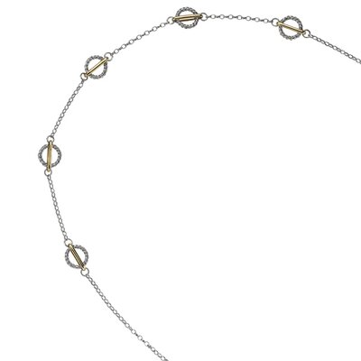 Jewelryweb Sterling Silver 14k Gold Fancy Necklace - 18 Inch