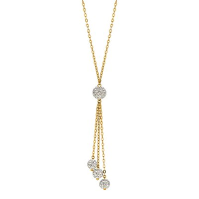 Jewelryweb 14k Yellow Gold 3 Crystals Necklace - 17 Inch