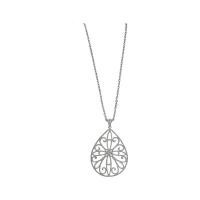 Sterling Silver Rhodium Plated Pear Shaped Pendant- 18 Inch