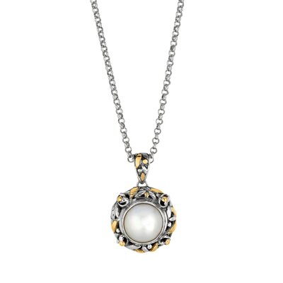 Sterling Silver 18k Gold Designer Pendant With Cultured Pearl - 18 Inch