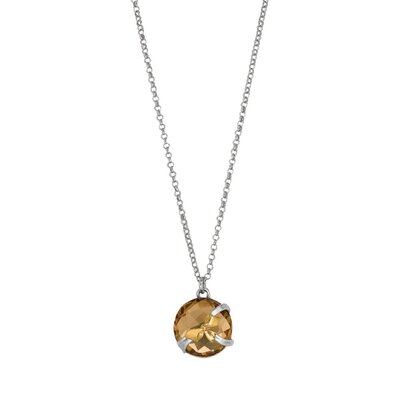 Sterling Silver 18k Gold Fancy Designer Necklace - 17 Inch