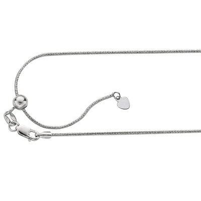 Sterling Silver 0.9mmRhodium Plated Sparkle Snake Necklace - 22 Inch