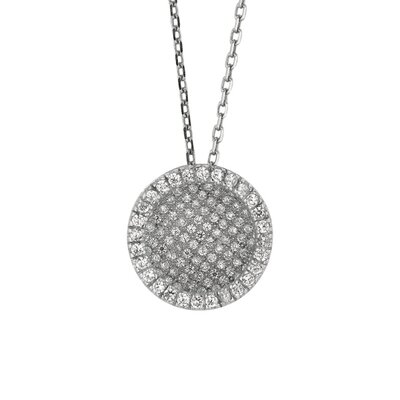 Sterling Silver Rhodium Plated Fancy Round CZ Pendant- 18 Inch