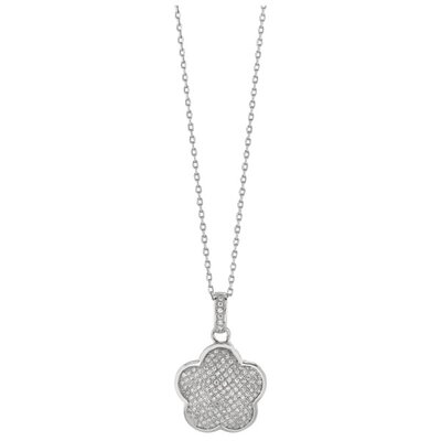 Sterling Silver Rhodium Plated White CZ Flower Pendant- 18 Inch