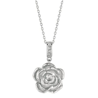 Sterling Silver Rhodium Plated Rose Flow Pendant- 18 Inch